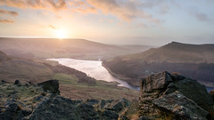 Dovestones in December (Warwick Tams) Tags: lanscape viewpoint canon 5d mk iii sky lake blue english countrside england hill walk hiking sunset light colour vista sun sunburst rock peak district dovestones wow