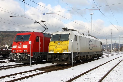 ECR E186 175-6 und DB Schenker 185 397-7, Trier-Ehrang Rbf