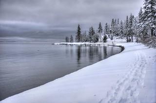 Serene beauty of Lake Tahoe winter