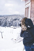 Finding the picture (portfolio.martin) Tags: forbach badenwürttemberg deutschland de youn woman taking photos winter cold snow warm clothing looking view forest trees wood house