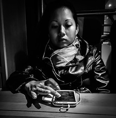 Close call (Henka69) Tags: street candid headphones smartphone bw monochrome publictransportation train