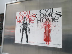 Resident Evil - Evil Comes Home Movie Poster 1176 (Brechtbug) Tags: resident evil comes home movie poster billboard sidewalk display destruction milla jovovich video game film nyc 02022017 new york city cinema marquee flickr motion december 2017 black white red graphic illustration scifi science fiction post apocalyptic future dystopia futuristic war zone female warrior amazon amazonian