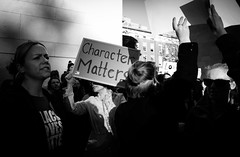 Character Matters - Donald Trump Protest - Manhattan - November 2016 (A Screaming Comes Across the Sky) Tags: donald trump protest manhattan november 2016 onlookers nikon d800 d800e tamron 2470 f28 nyc new york city newyork outdoor blackandwhite monochrome people text groupshot depth field child crowd