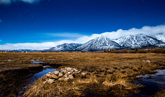 Carson Valley with the Stars (JarrodLopiccolo) Tags: carsonvalley sierranevada nevada night mountains clouds blue rocks stars farming water astrophotography winter cold outdoor landscape brown