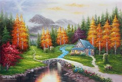 Dream Home, Art Painting / Oil Painting For Sale - Arteet™ (arteetgallery) Tags: arteet oil paintings canvas art artwork fine arts sky landscape summer tree travel water tourism sun outdoors cloud building clouds season holiday sunny scenery design river vacation reflection natural scene day colorful countryside tranquil old scenic forest spring outdoor monument silhouette garden plant rural flowers drawing house cottage landscapes surreal fantasy pastorals orange lime