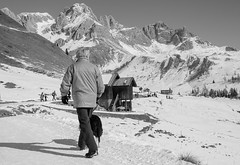 All the way to the top (HelioD'Costa) Tags: mountains snow winter man dog nature italy europe black white street photography helio da costa