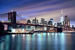 Brooklyn bridge and Manhattan Downtown (Rafakoy) Tags: city nyc longexposure bridge sky urban ny newyork film water skyline brooklyn night clouds mediumformat reflections dark season october cityscape kodak manhattan negative brooklynbridge eastriver epson 6x9 wtc v600 90mm perfection ektar 100iso c41 2015 freedomtower gw690iii janescarousel kodakektar100 oneworldtradecenter fujinon90mmf35 epsonv600