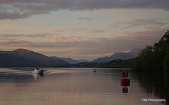 Loch Lomond (Rollingstone1) Tags: boat mountains scotland balloch lochlomond buoy sky clouds nightfall autumn water outdoor bouy evening trees landscape pentax visualart artwork art colour serene hills