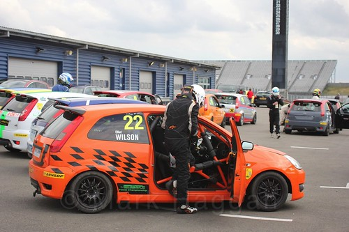 Elliot Wilson after Race 2 at the BRSCC Fiesta Junior Championship, Rockingham, Sept 2015