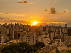 Belo Horizonte Sunset (D Song) Tags: old city travel blue sunset brazil sky panorama playing mountains streets green church architecture kids buildings children churches panoramic historic cobblestone vista belohorizonte hilly favela ouropreto slums