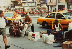 Two Drummers (eatmymoto) Tags: city summer urban usa newyork money hot america fun hope big cool rehearsal manhattan 1999 learning drummer drumming musik independenceday drummers rhythm openair jamsession surviving blackmusic summer1999 drumschool
