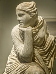 Closeup of of a seated Muse, probably Urania the muse of astronomy Roman copy after a Greek original of the early 3rd century BCE (mharrsch) Tags: sculpture statue female greek ancient roman maryland baltimore muse astronomy myth urania waltersartmuseum 3rdcenturybce mharrsch