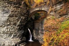Protected Waterfall (dennoit) Tags: statepark park bridge autumn newyork tree fall water pool waterfall stream foliage gorge fingerlakes watkinsglen watkinsglenstatepark