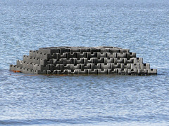 Oyster reef in the bay made from oyster castles, about 60% complete (U. S. Fish and Wildlife Service - Northeast Region) Tags: newjersey sandy volunteers erosion partnership saltmarsh usfws thenatureconservancy gandysbeach oystercastles coastalresilience hurricanesandy strongaftersandy