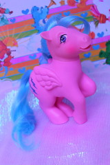 flyin to your heart (Vuffy VonHoof) Tags: blue bunny green vintage toy toys photography neon cross little vibrant pastel magic nursery barbie retro pony 80s ponies 1980 90s mlp ponys ponk ponie 180s