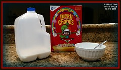 Cereal Time With Holly (Forklift Luke) Tags: christmas holiday breakfast toy doll cereal holly shelf elf hide tradition luckycharms ribbet elfontheshelf