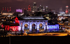 Red, White, and Blue (KC Mike D.) Tags: skyline blue white red downtown city town color night lights architecture station union