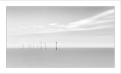 Solitude II (Frank Hoogeboom) Tags: nederland zeeland holland landscape landschap netherlands oesterdam tholen monochrome blackandwhite blackwhite seascape panorama panoramic fineart photography longexposure poles stakes water sea coast shore clouds fineartphotography explore