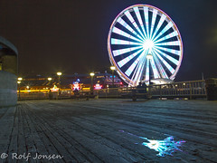 The Big Wheel (rjonsen) Tags: ferris wheel ferreiswheel reflection water wet motion blur light trail long expoure tripod