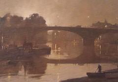 TRC71269 (Kitami Ito) Tags: trc71269 night kew bridge 1989 chamberlaintrevorcontemporaryartist riverscene landscape reflection twilight dusk london thames canal scenes
