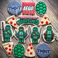 TMNT Lego Cookies (cREEative_Cookies) Tags: decorated sugar cookies creeative decorating food art birthday party theme custom desserts sweets tmnt teenage mutant ninja turtles power turtle lego pizza shell