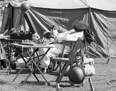 A break between sorties (Beth Hartle Photographs2013) Tags: duxford reenactment raf scramble dispersal homeguard wraf middlewallop 609sqndispersal 1940battleofbritainairshow airtrafficcontrolcaravan wrafdriver 1937vauxhallcar
