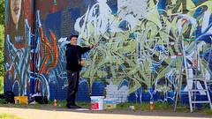 One building, one idea! ( 374th picture of the same building) - `West side !´: `Five years - graffitis and our sports hall !´ / Graffiti, Street Art - OLDENBURG (tusuwe.groeber) Tags: blue red streetart colour building rot art sport project germany graffiti purple jujitsu sony violet lila lilac colourful blau gebäude farbig bunt projekt oldenburg farben violett favorit sportsclub niedersachsen lowersaxony sportshall sporthalle funkyfresh jujutsu lovelycity tusbloherfelde bloherfelde sonyphotographing nex7
