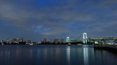 Tokyo Bay with Rainbow Bridge at night (id-image) Tags: ocean bridge sea water japan night dark lights tokyo boat ship jpn toukyouto