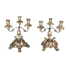 Pair of Italian Antique Giltwood Candelabra (thehighboy) Tags: lighting miami antiques collectibles highboy candelabras italianantique giltwoodcandelabra