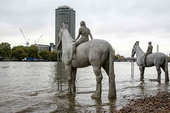 Looking To The Future (Mabacam) Tags: boy horses london girl thames river cityscape environment riverbank riverthames sculptures waterway vauxhall riders 2015 riverscape shirehorses therisingtide ecosculpture jasondecairestaylor underwatersculptures totallythames2015