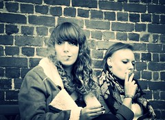 Cigarettes (Corinne Lejeune Girot) Tags: blackandwhite girl monochrome friend noiretblanc cigarette smoke ami bnw amitié fumée