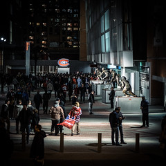 Game night (emrold) Tags: street night square montreal crowd bellcentre day293 kodakektachrome64t montrealcanadiens xt1 vsco day293365 365the2015edition 3652015 vscofilm07 20oct15