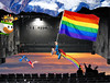 Catch Photo #30E (gaymay) Tags: california gay sky mountain snow love happy robot flying rainbow bowser desert stage flag palmsprings mario superman rainbowflag auditorium triad supergay trapezeartist mysterysciencetheater3000 catchphoto
