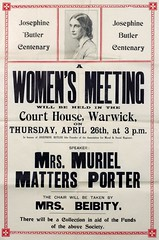 Poster : Josephine Butler Centenary. A Women's Meeting will be held, 1928.