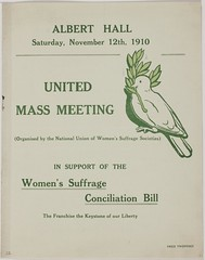Notice for United Mass meeting at Albert Hall, 12 Nov 1910.