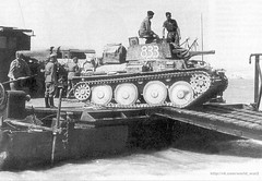 "German tank Czech production Pz.38(t) is discharged with a self-propelled ferry type ""Siebel"". Crimea, 1942."