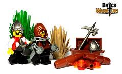 Empty Camp (BrickWarriors - Ryan) Tags: castle hammer war lego battle medieval fantasy armor axe custom weapons nasal helm wolfpack helmets minifigure brickwarriors