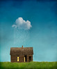 Little House of Sorrow (Cat Girl 007) Tags: window meadow green surreal cloud blue weather abandoned mysterious outdoors concept yellow house grass wooden old nature grassland raining building cottage raincloud conceptualart verticalimage raindrops builtstructure photomontage photomanipulation oneofthosedays depression depressing