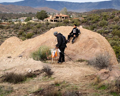 042 Father And Son Finally Find The Control (saschmitz_earthlink_net) Tags: 2017 california orienteering vasquezrocks aguadulce losangelescounty laoc losangelesorienteeringclub