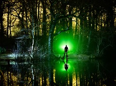 The Green Man (Rob Pitt) Tags: local pond near rivacre valley lightpainting qualitystreetwrappers loorollcores sellotape torch silhouette night wirral cheshire ellesmereport reflection rob pitt