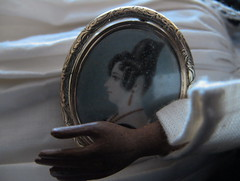 """LUCE_wood """"Door of Hope doll""""_1901. Antique portrait brooch (gift for a friend) (leaf whispers) Tags: doll doorofhope doorofhopemission antique handmadedoll artdoll browndoll blackdoll chinesedoll beautiful ofcolor china carved wood sculpture wooden pear haunted ghost creepy scary silkclothes originalclothes recycled decayedbeauty missiondoll antiquewooddoll antiquecarvedwooddoll handcrafted woodhead woodenhead carvedwoodhead vintage folkart victorian spiritdoll ghostlydoll oldtoy antiquetoy doorofhopedoll younglady blacksilkskirt jacket silk lady woman girl boundfeet footbinding figure maker artist light poupée ancienne bois obsolete decay beautyindecay ooak interesting buy auction chiaroscuro portrait miniature hand painted brooch pin apollosknot apolloknot jewellery jewelry"""