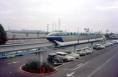 1962 Disneyland monorail and parking lot (Tom Simpson) Tags: disney disneyland vintage vintagedisney vintagedisneyland 1962 1960s monorail parkinglot