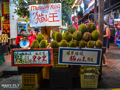 Durian Street Stall (mary fly) Tags: singapore chinatown durian stink fruit jackfruit street stall