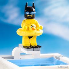 Overcome his fear of water😰 (legomeee) Tags: lego legography legophotography legodc legomarvel legolife legobatman overcomefear swimming pool legominifigures legominfigs