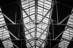 Victorian Markets (Anthony P26) Tags: architecture art england internal london places shapeslines spitalfields travel british greatbritain english victorian roof architecturephotography historic glass steel metal canon canon1585mm canon70d pattern blackandwhite monochrome