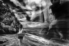 Through the window of your life. (FimRay) Tags: blackandwhite bw monotone monochrome digitalmanipulation blending people woman girl life lookingback remembering pensive contemplative daydreaming daydreamer montage composite