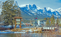 Canmore (Tony_Brasier) Tags: water trees town ducks nikon d7200 people bridge mountains sky shops road canada canmore cold ice lovely location fishing