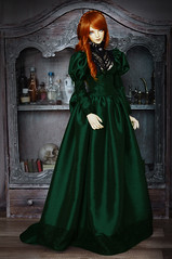 Emerald Evening (AyuAna) Tags: bjd ball jointed doll dollfie ayuana design handmade ooak clothing clothes dress set historical style iplehouse luna normalskin