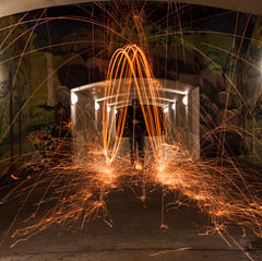 Wire Wool Incoming (DrSchabbs) Tags: longexposure friends slr wool night canon fun happy photography wire long exposure action sigma australia tunnel spinning canberra sparks canoneos rhys bounce act davies settings australiancapitalterritory wirewool rhysdavies 50d canoneos50d canberraphotographer