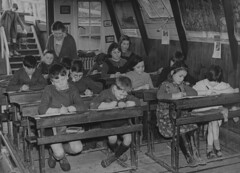 Unusual Classroom on a barge (theirhistory) Tags: school class form junior primary england uk gb children boys girls kids jacket shirt dress shoes wellies glasses rubberboots teacher dog pupils students education